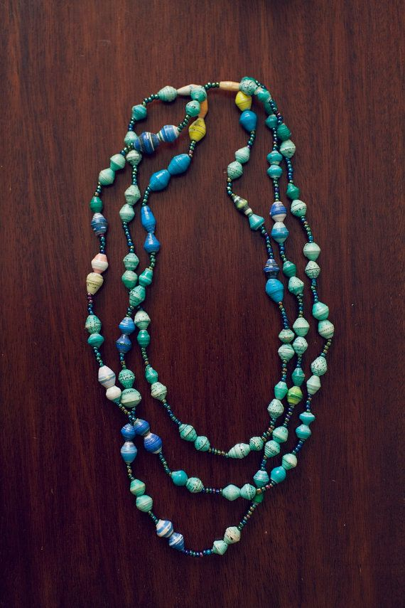 Three+Stand+Recycled+Paper+Bead+Necklace+by+BeautifulResponse