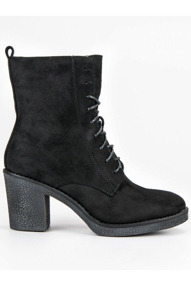 536abb89e411 Čierne členkové topánky na hrubom opätku Super Mode