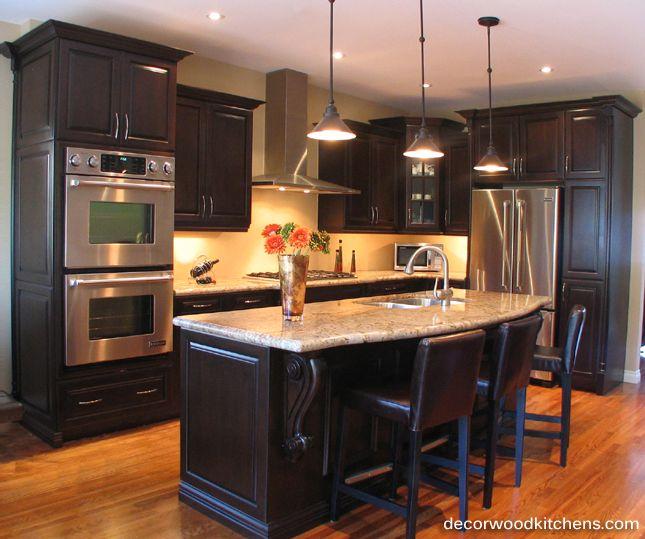 Dark Stain Maple Kitchen Raised Panel Door Double Wall