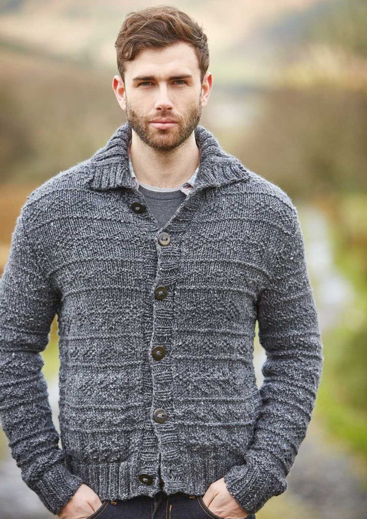 Free Knitting Pattern For A Mens Textured Cardigan Fell Knitting