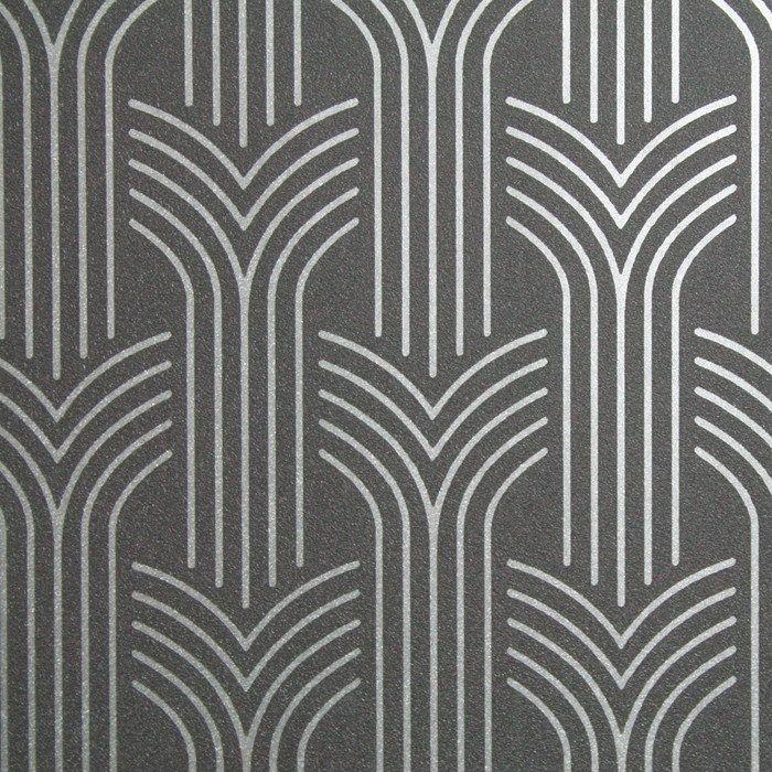 Cinema Art Deco Wallpaper Black Geometric Wall Coverings