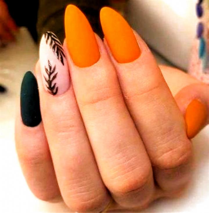 Fall Nails Acrylic In 2020 Orange Acrylic Nails Orange Nails Almond Nail Art