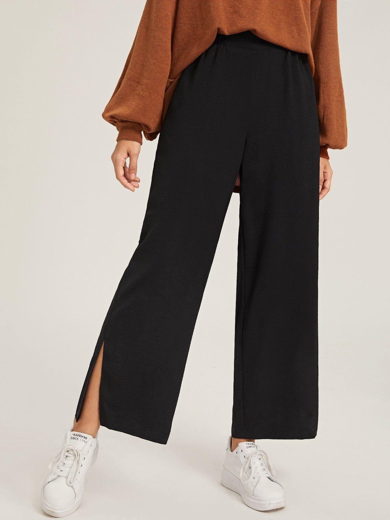 Pantalones Anchos Bajo Con Abertura Pantalones De Moda Mujer Pantalones De Moda Moda De Ropa