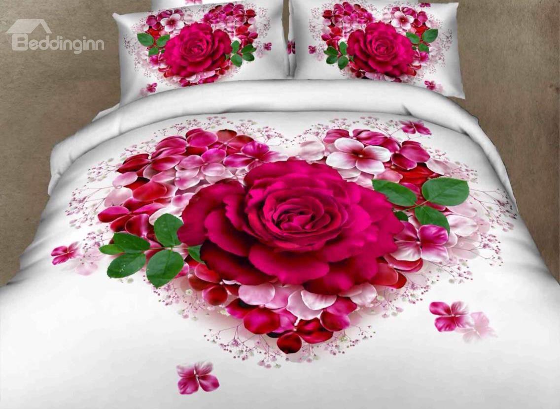 Very Beautiful Love Of Rose Print 100 Cotton 3d Duvet Cover Sets Floral Bedding Sets Duvet Cover Sets White Bed Set
