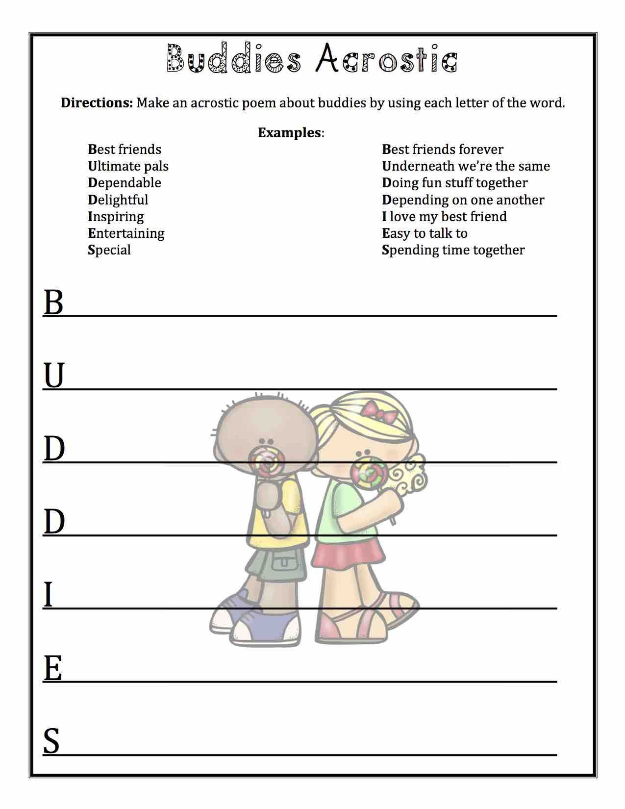 Friendship Poetry Printables for your Valentine's Day Poetry Unit. Acrostic [ 1650 x 1275 Pixel ]