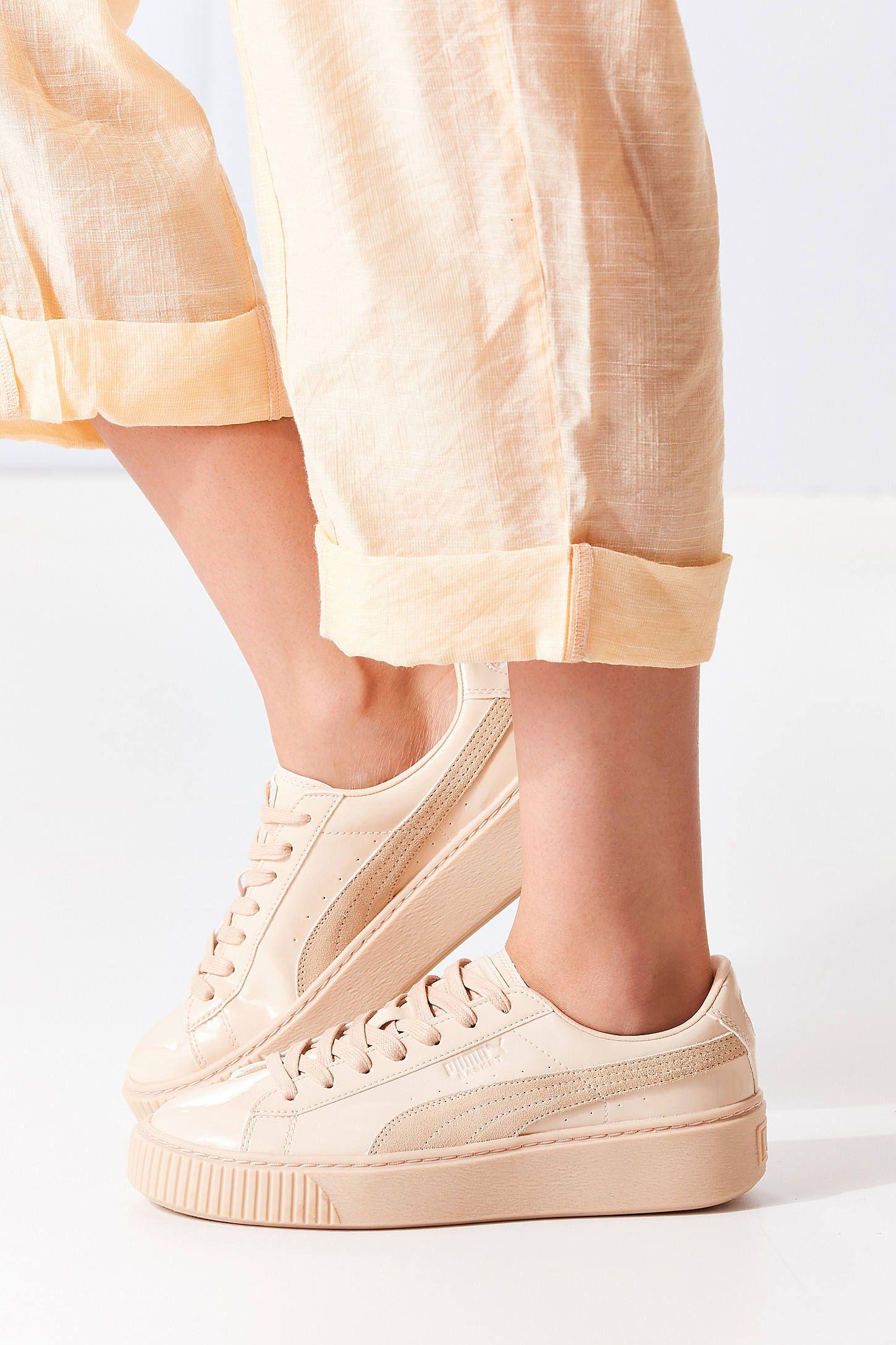 puma basket patent leather platform sneaker beige