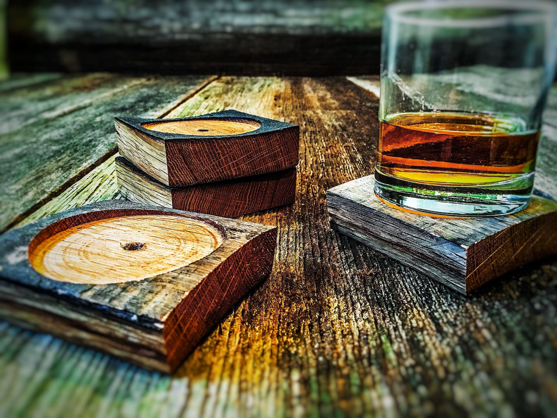 Bourbon gifts bourbon gift for him wood coaster set etsy