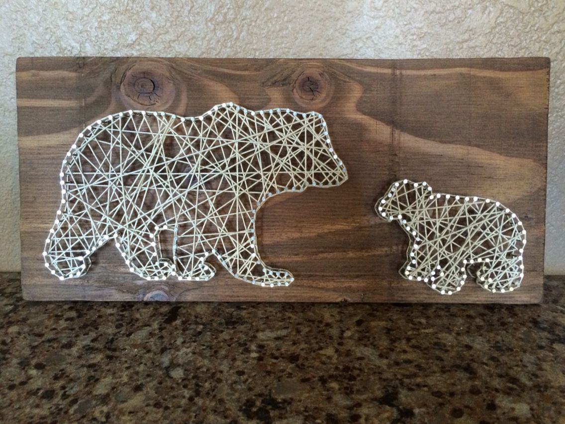Polar Bear Dad and Cub String Art