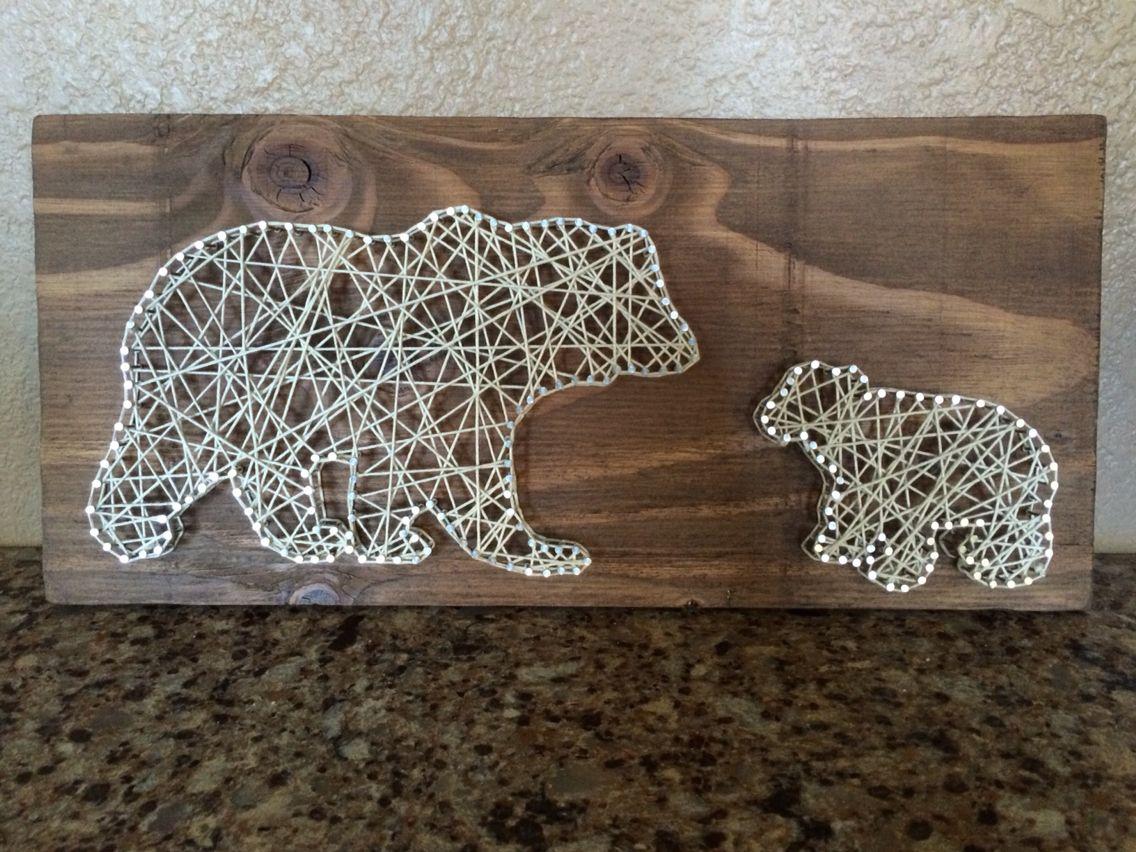polar bear dad and cub string art