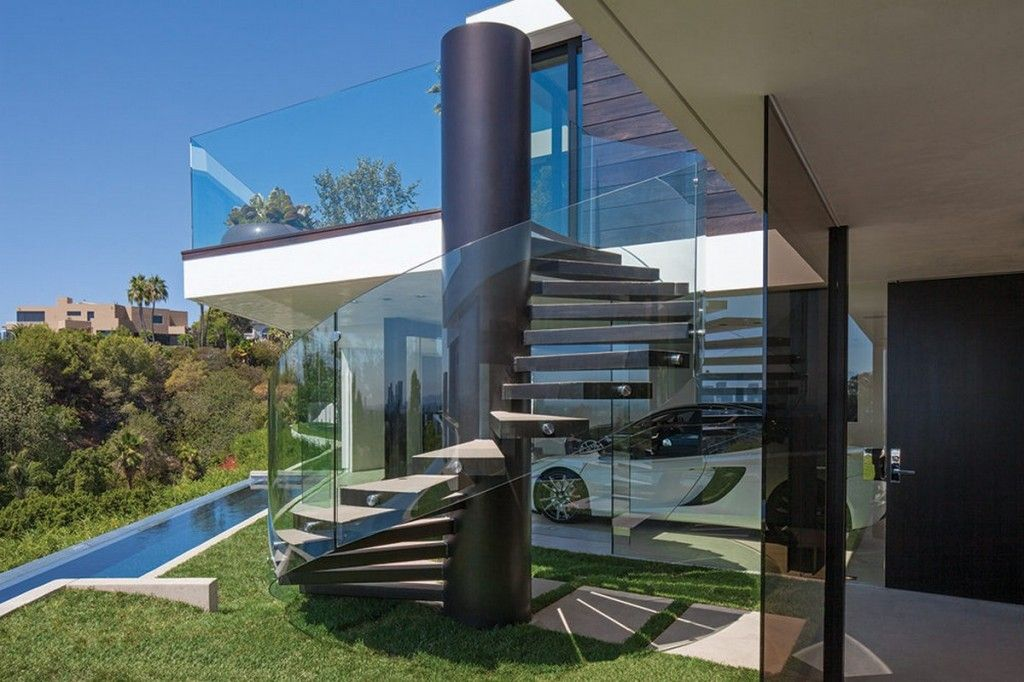 Laurel Way Residence Exterior Outdoor Glass Spiral Staircase Glass ...