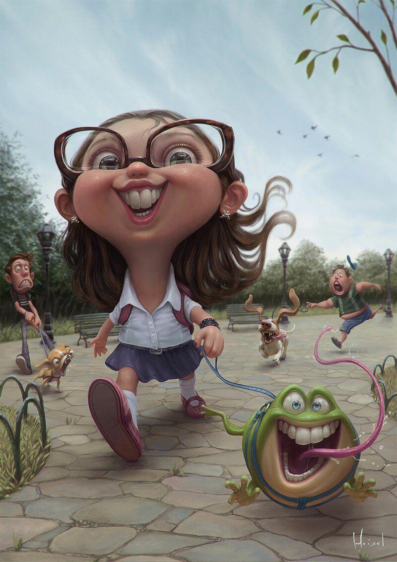 Картинки смешных девушек нарисованные