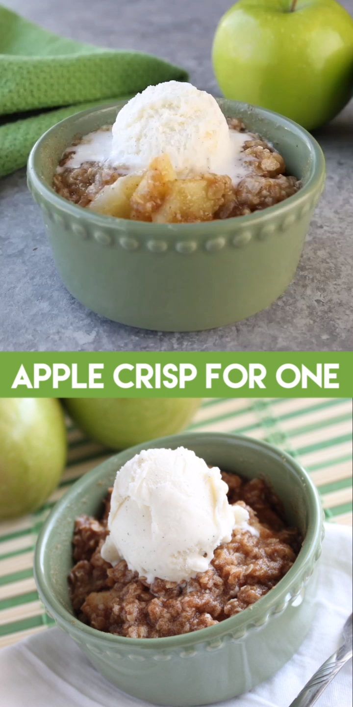 Apple Crisp For One is a delicious single-serving dessert! Make it in the microwave OR oven and top it with vanilla ice cream for an extra tasty treat. // #dessertforone #recipesforone #microwavedessert