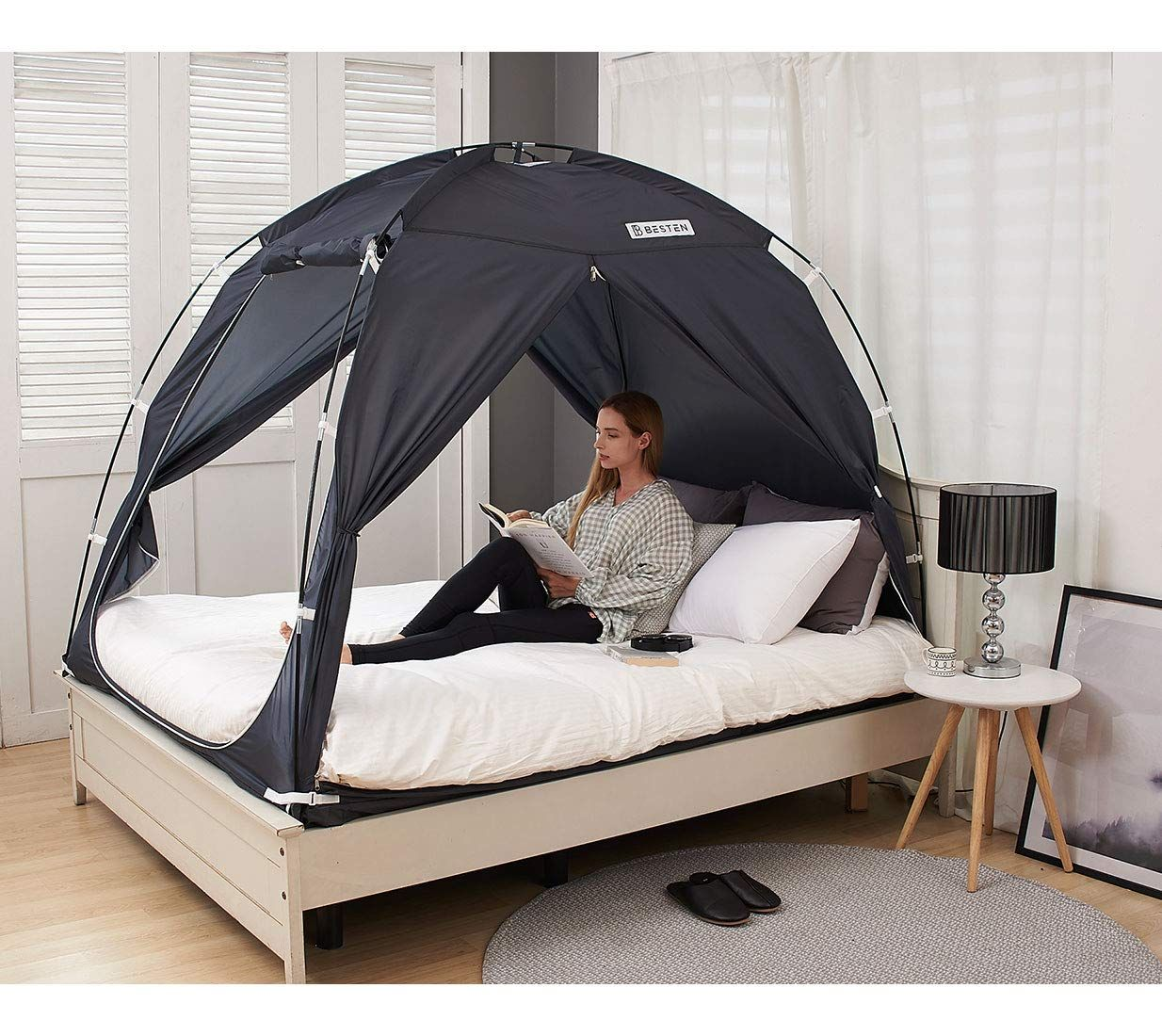 BESTEN Floorless Indoor Privacy Tent on Bed for Warm and