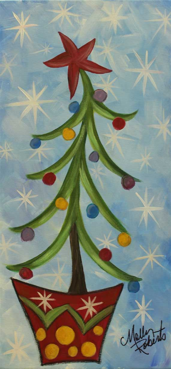 Dancing Christmas Tree Is A 10x20x 75 Whimsical By Mollyrobertsart Christmas Paintings On Canvas Christmas Canvas Christmas Paintings