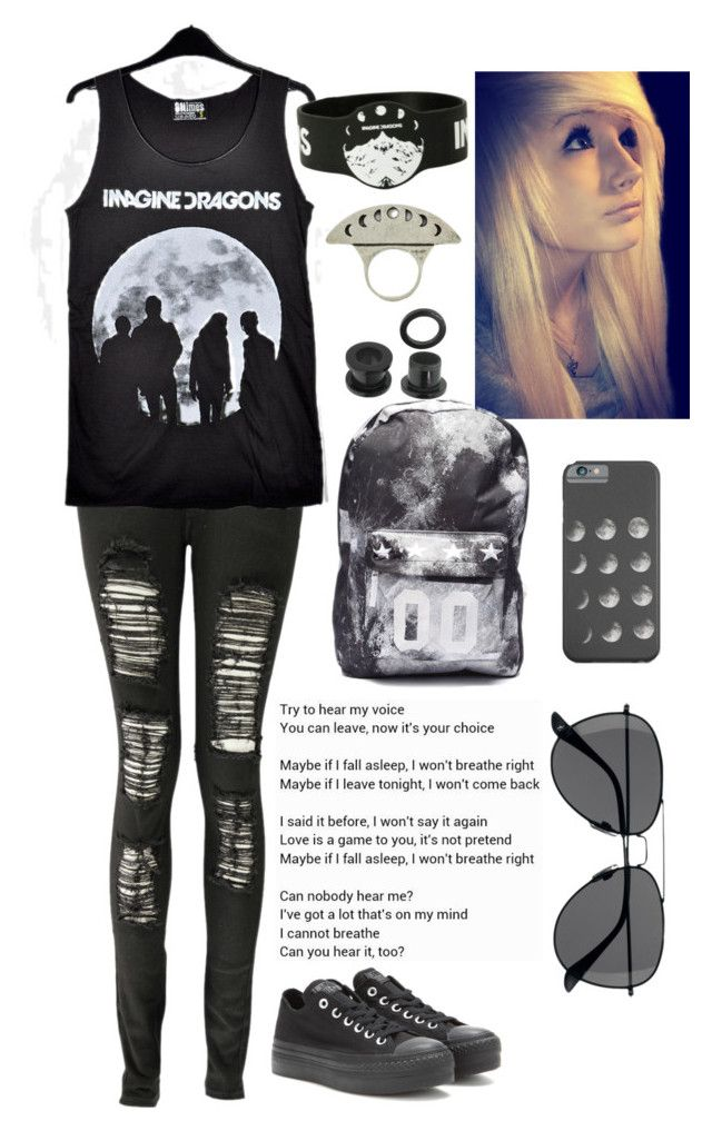 """""""Going to the Imagine Dragons concert tonight"""" by roxysurfing ❤ liked on Polyvore featuring Boohoo, Converse, Pamela Love and H&M"""