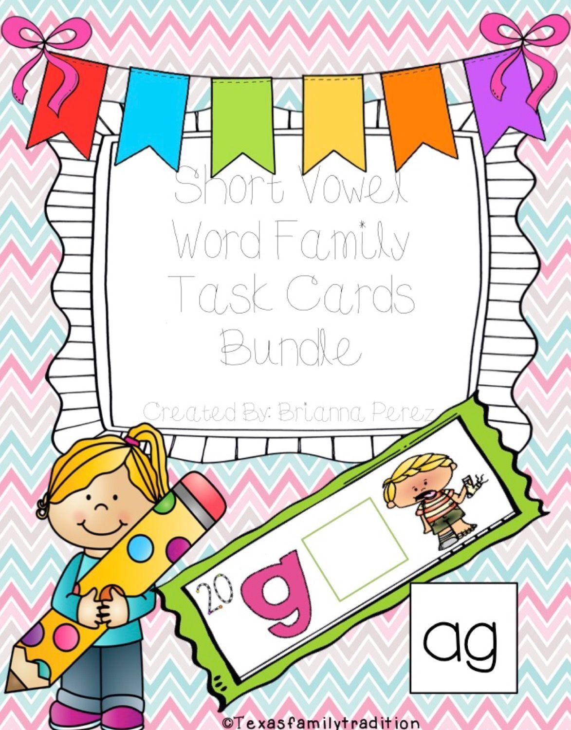 Short Vowel Word Family Task Cards Bundle