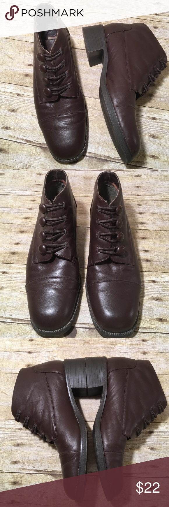 """G. Whiz Brown Ankle Boots Size 8M Lined Leather 4 1/2"""" high from bottom of the heel to the top of the boot. In really good condition with the exception of 1 tiny scuff. 1"""" chunky heel. Nonslip sole. Non smoking home g. whiz Shoes Ankle Boots & Booties"""