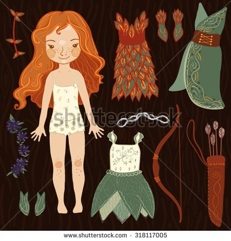 Dress up paper fantasy doll with ginger hair. Fairy dresses, shoes and arrow set. Vector illustration.