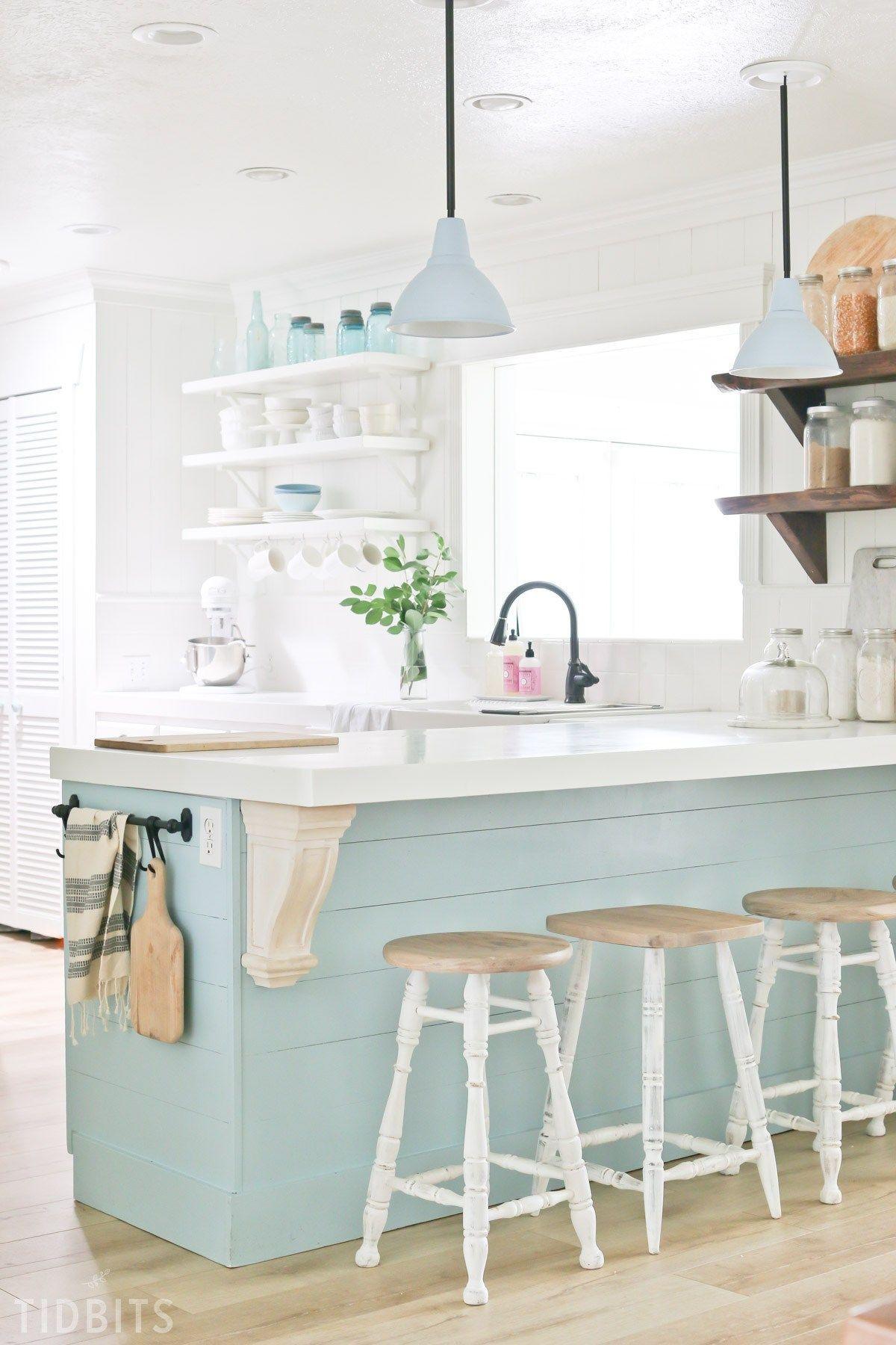New laminate flooring revealin the kitchen kitchen island on