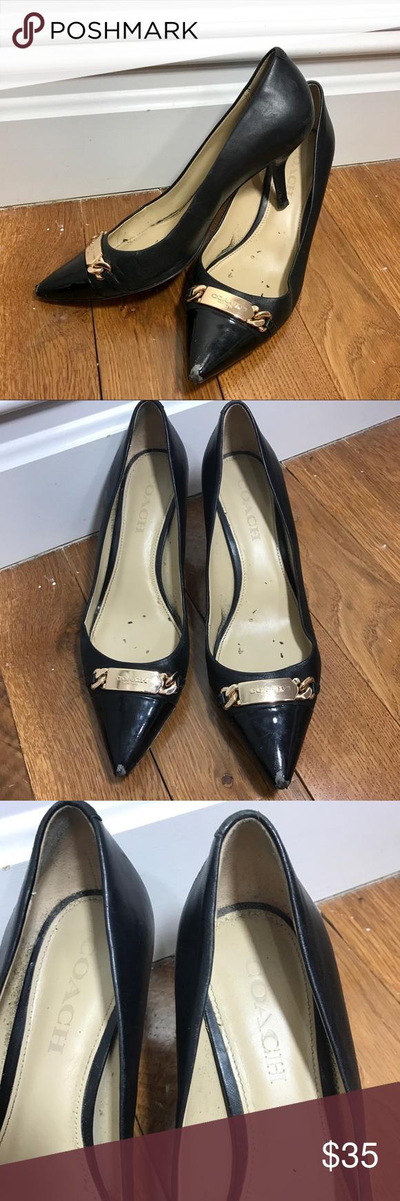 Coach black patent toe gold detail kitten heel coach