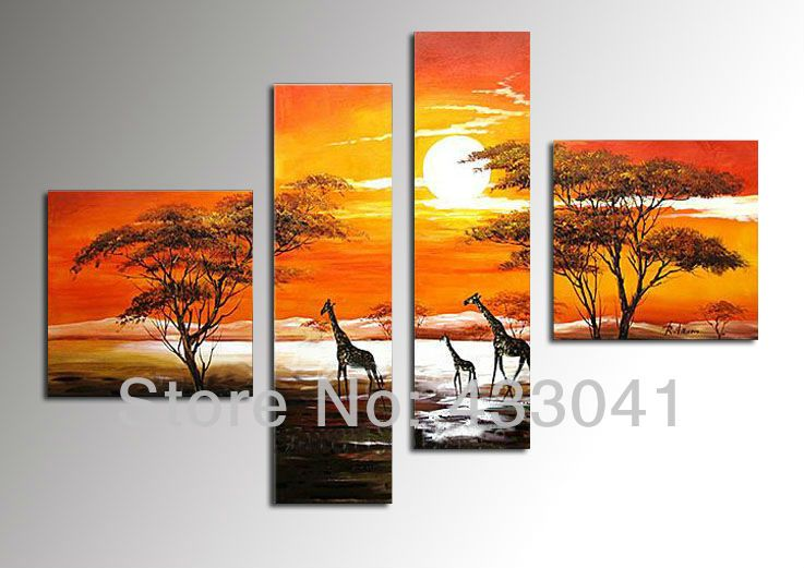 Purple African Tribal National People Life Style Water Sun Tree Landscapes Oil Painting Abstract Canvas Art 5 Panel Wall Decor From Oott, $72.24 | Dhgate.Com