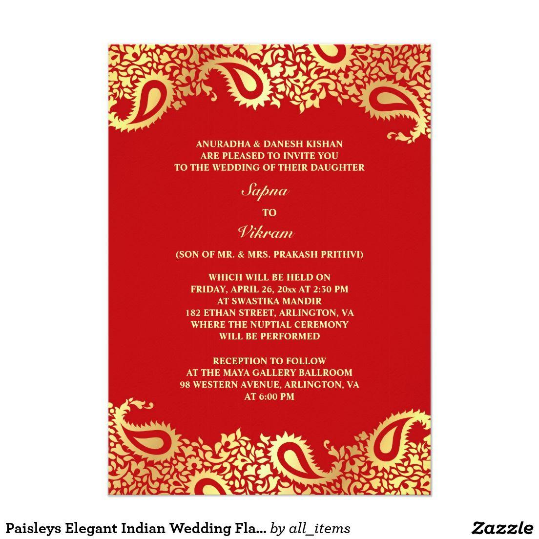 Indian wedding invitation buyretina paisleys elegant indian wedding flat invitation pictures gallery stopboris Choice Image