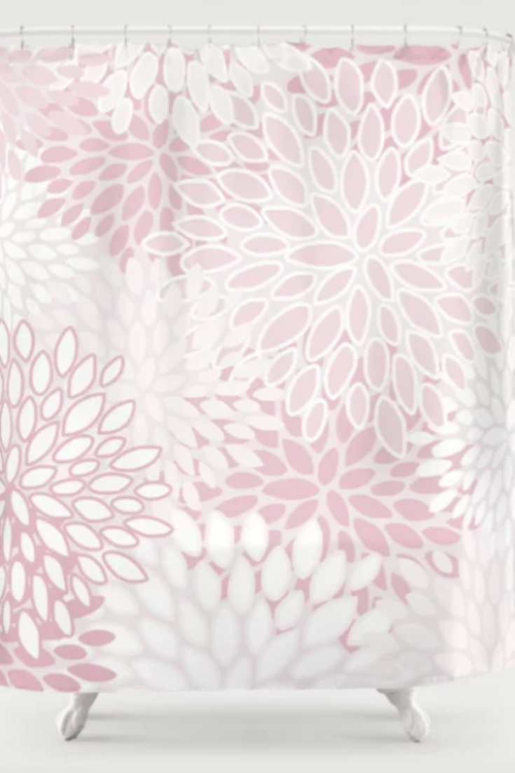 Pretty Bathroom Ideas Floral Pattern Pastel Blush Pink And White