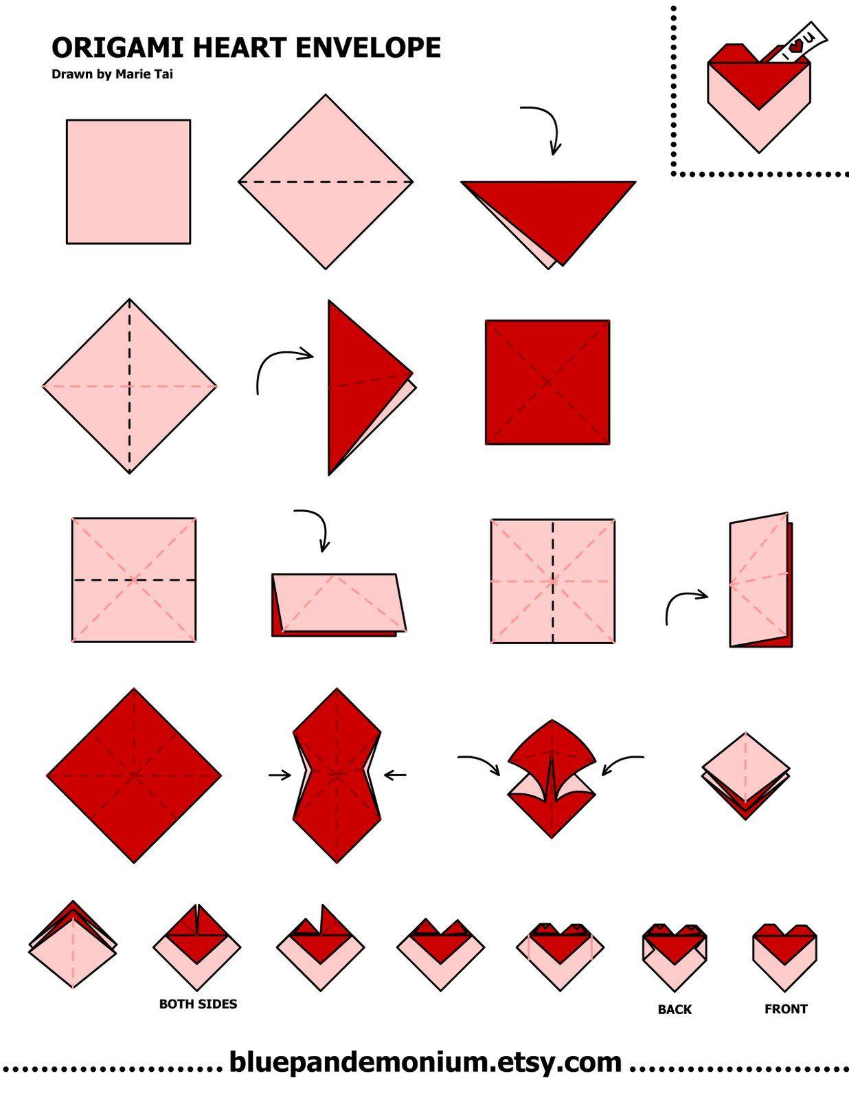 Origami Heart Envelope Tutorial Behind Mytutorlist Com Origami Envelope Origami Heart Origami Love