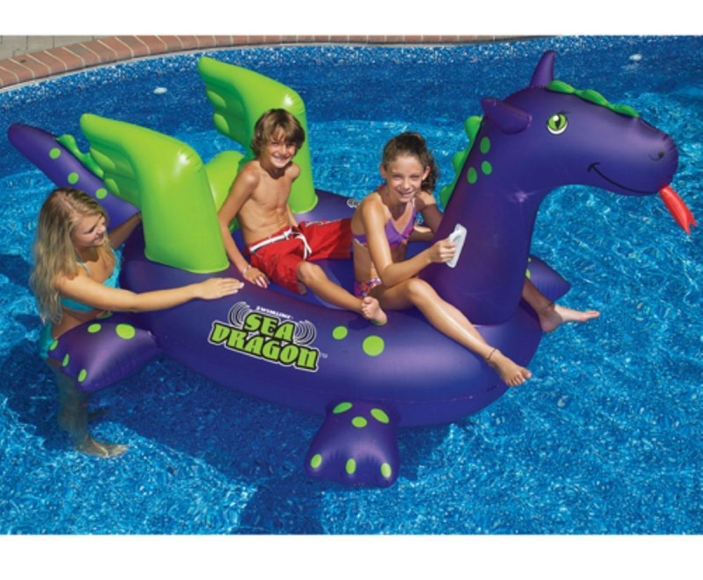Inflatable Pool Toy Giant Sea Dragon Ride On Swim Swimming Water Raft Float Kids Swimline