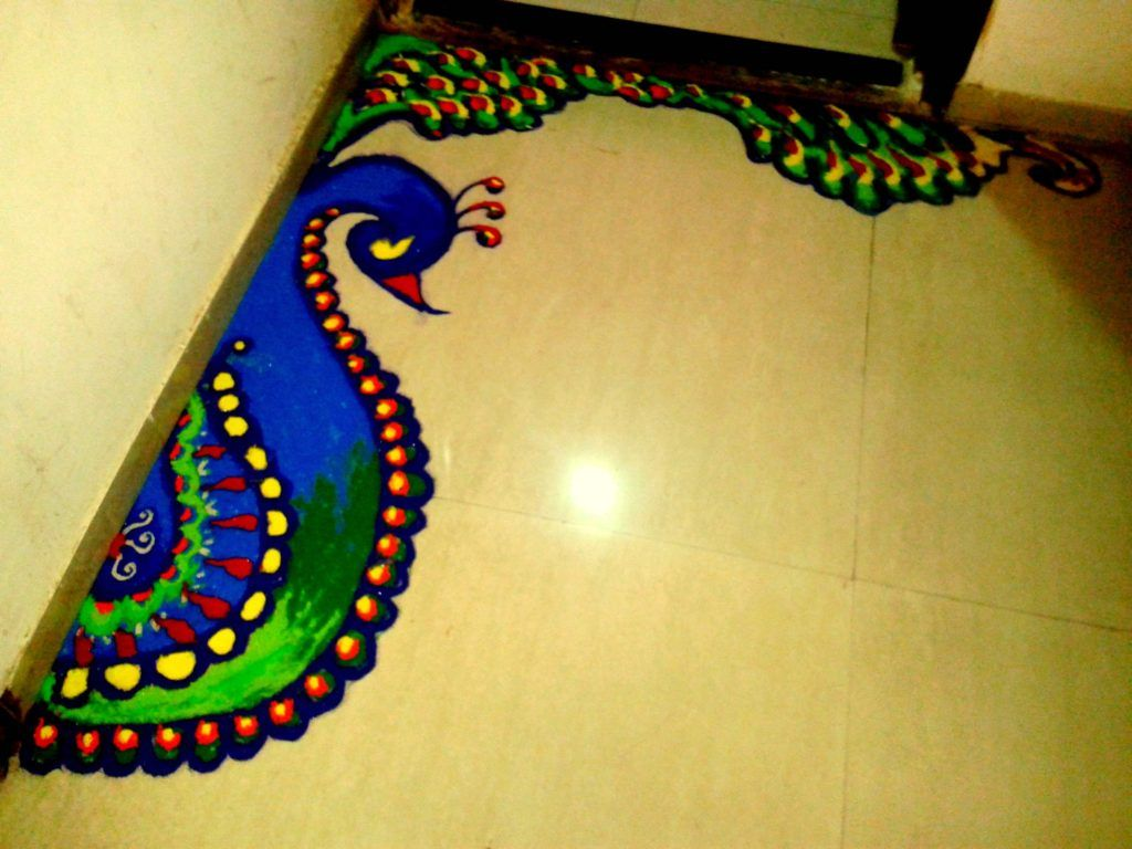 Diwali Floor Decoration Ideas Lightening Stars On Earth Small Rangoli Design Rangoli Border Designs Rangoli Designs Images