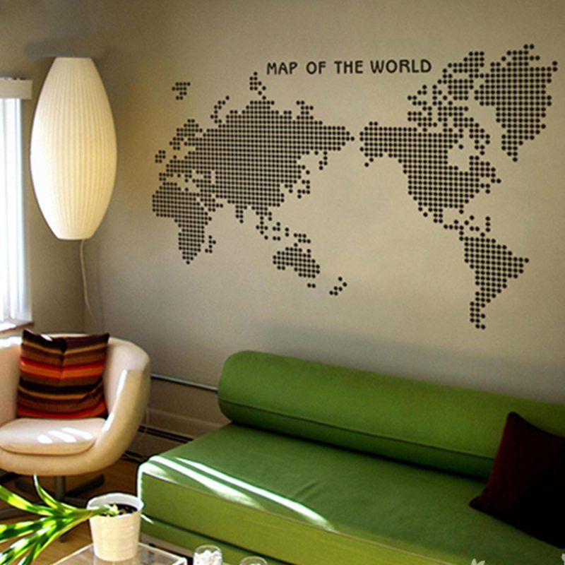 Large New Design Art Pattern Creative World Map Wall Stickers Dot Circle Map Wall decals Vinyl Decals World Map Poster Sticker