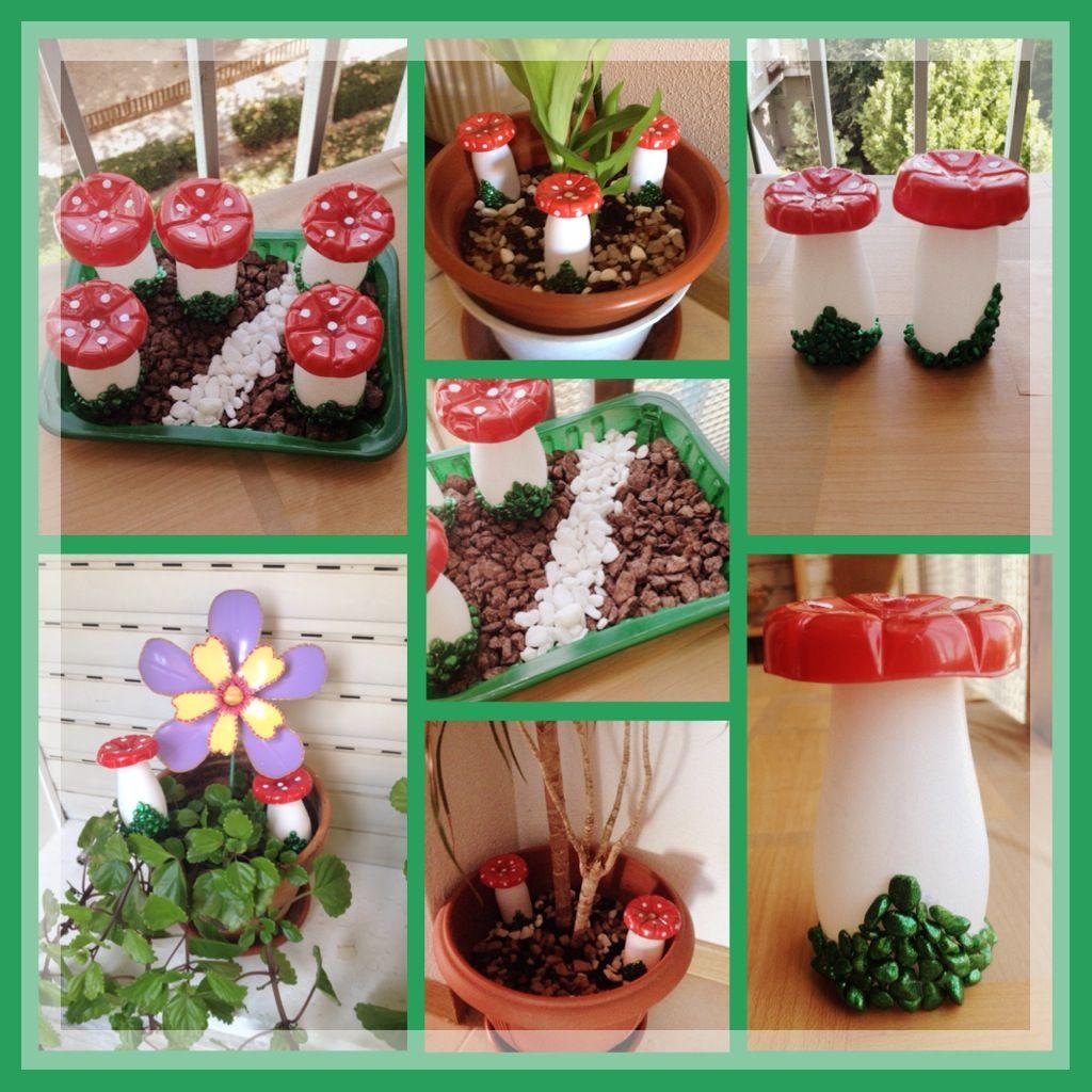 Sugerencias para coocar los honguitos o setas echas con for Jardines decorados con piedras