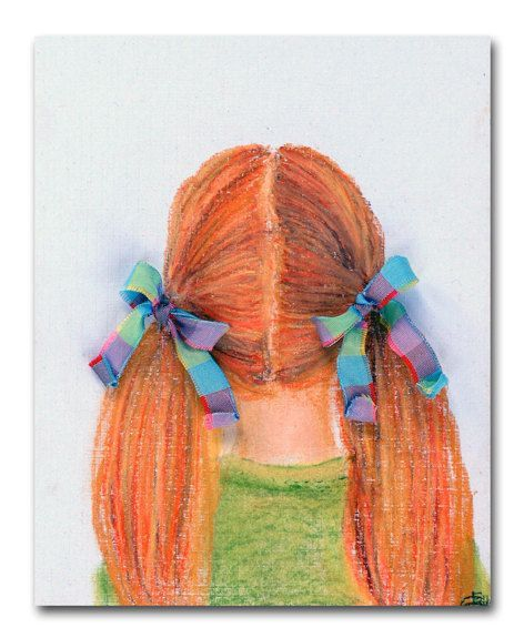 Girls Nursery Art Baby Nursery Prints Wall Art by handpainting,This is my Artwork for Girls room Decor, titled ''Hairstyles Collection'' and this collection contains 7 Girls Hairstyles, one hairstyle for every one day of the week! :))