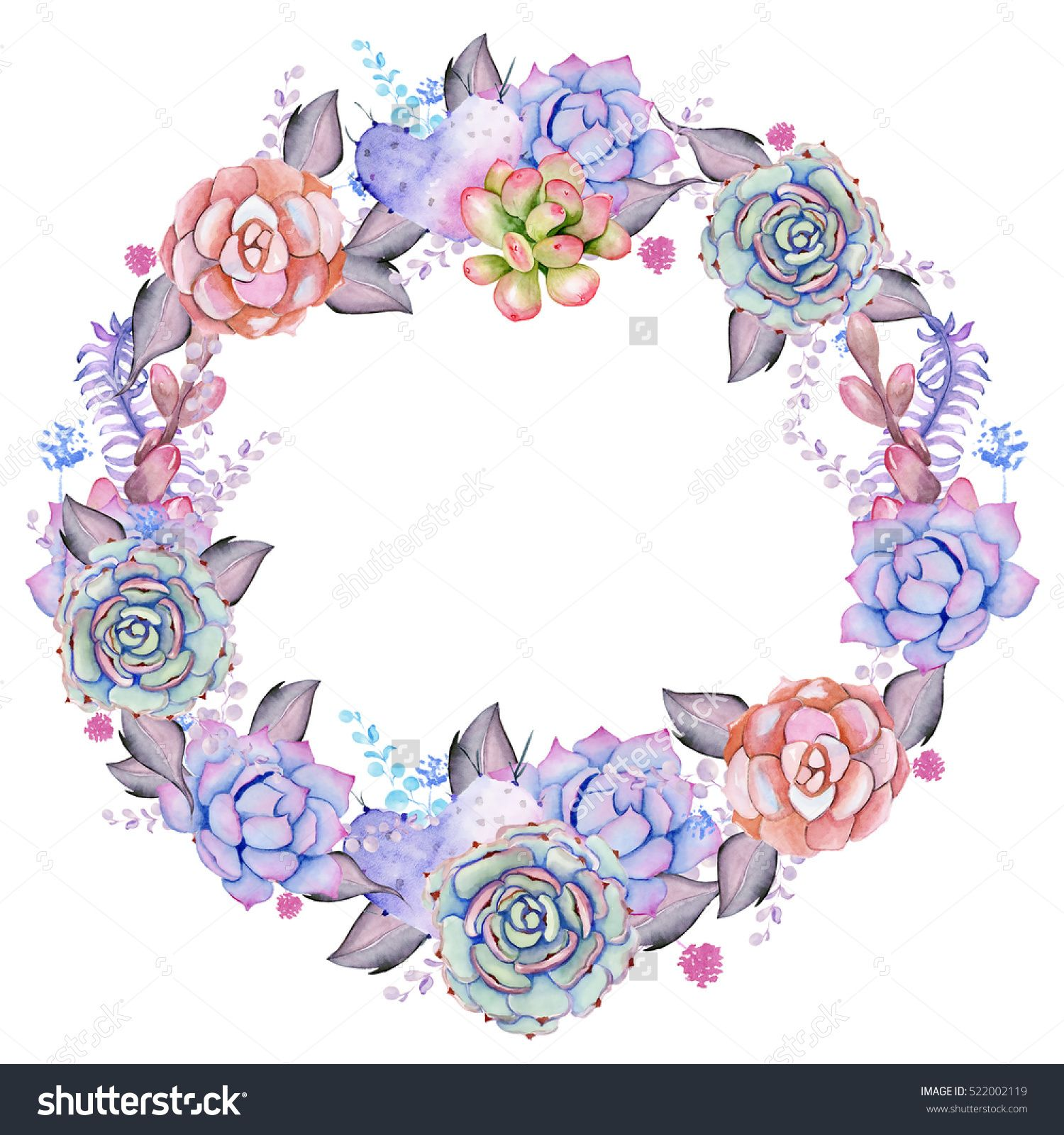 Hand painted watercolor wreath. Unique decoration for greeting card, wedding invitation, save the date. Isolated floral design. Summer succulents with space for your text.
