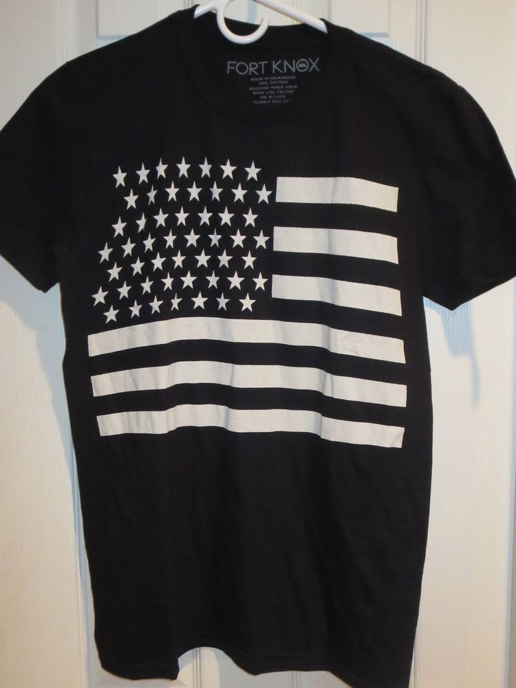 American Flag T-Shirt America USA Patriotic Black & White 4th of July Slim  Fit