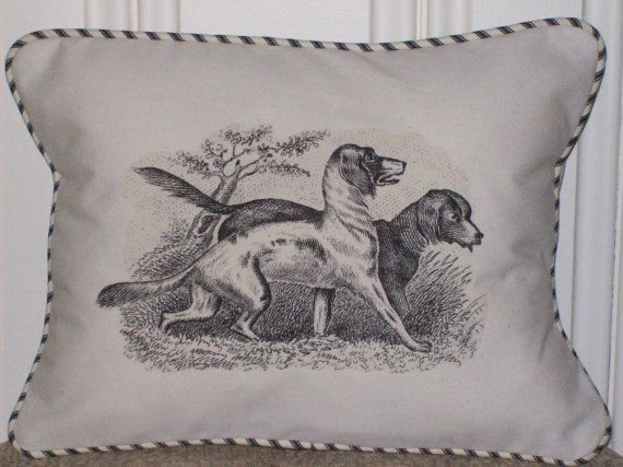shabby chic, feed sack, french country, vintage hunting dog graphic with ticking stripe welting ...