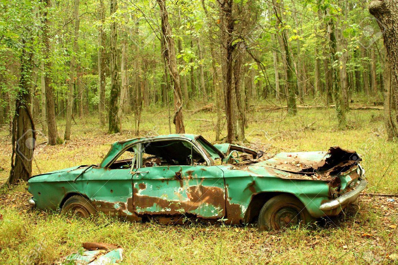 A Abandoned Car In The Woods Stock Photo Old Jpg
