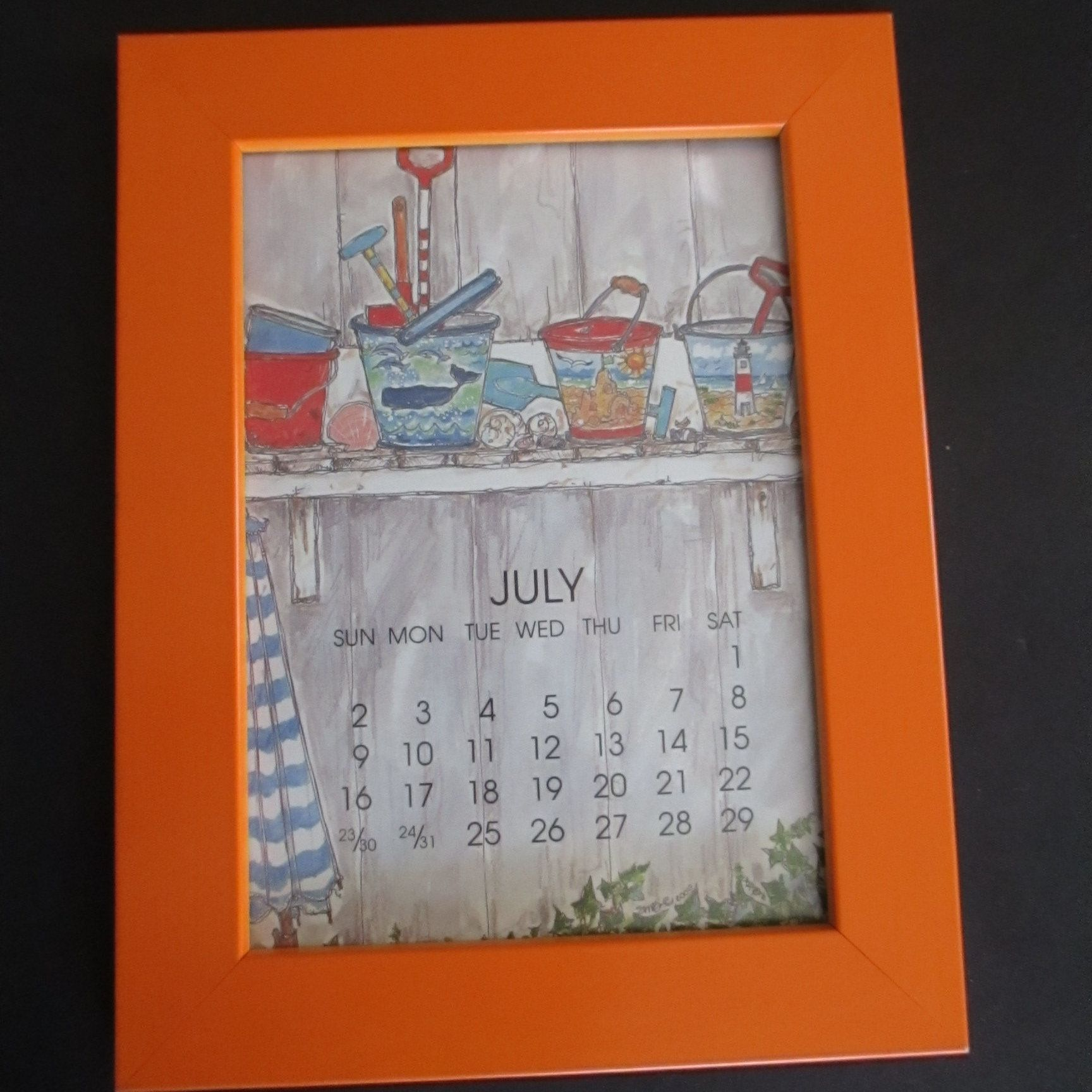 Orange Wood Frame 12 Monthly Calendar Art Prints Susan Wallace Orange Wood Frame Wood Frame