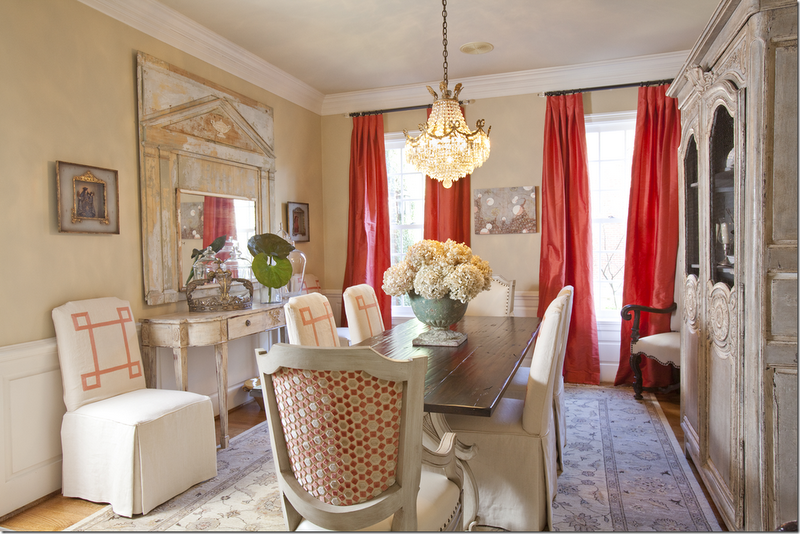Neutrals With Pops Of Color Coral In Curtains And Chairs Dining Room