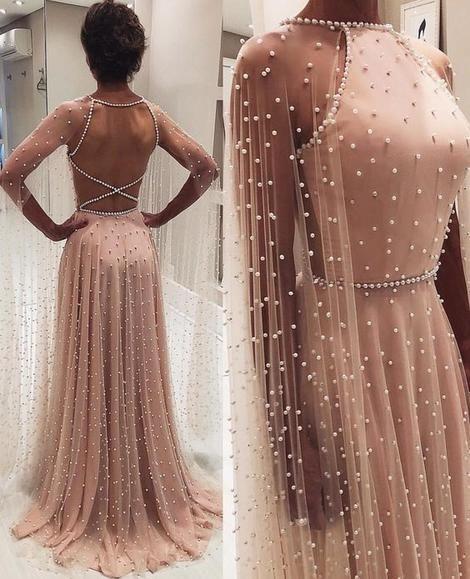 Chic A Linie Langarm Abendkleider Perlen Rosa Langes Abendkleid M0440 Prom Dresses Long With Sleeves Pink Prom Dresses Prom Dresses Modest