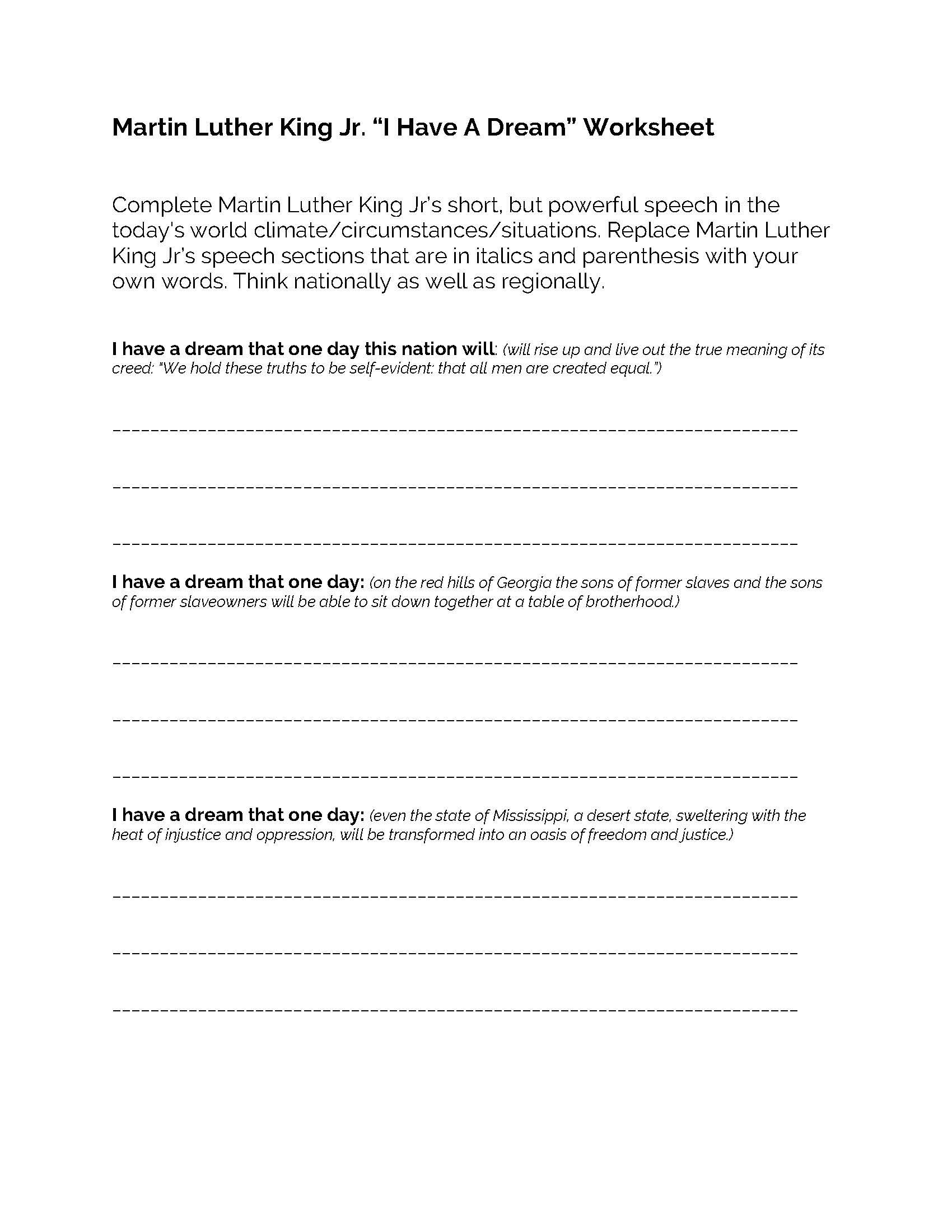 Martin Luther King Jr I Have A Dream Worksheet