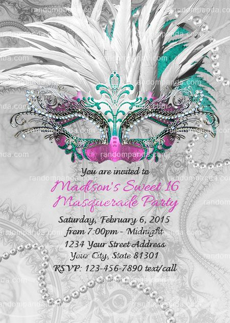 7056359ecad3 Masquerade Ball Invitation, Teal and Pink Sweet 16 Party, Winter Masquerade  Invite