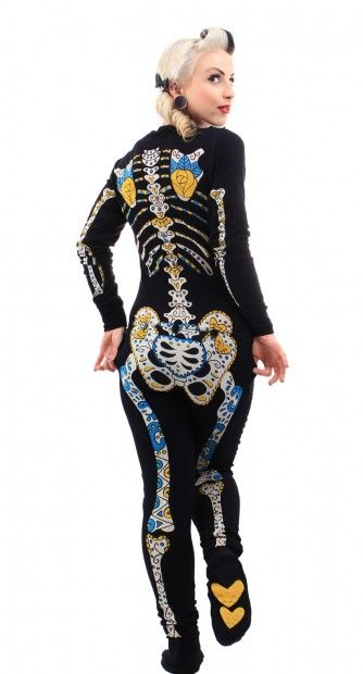 Day of the Dead Skelly Footie PJ's @Velia Canoy cabanila mom I want these for Xmas!!!!!