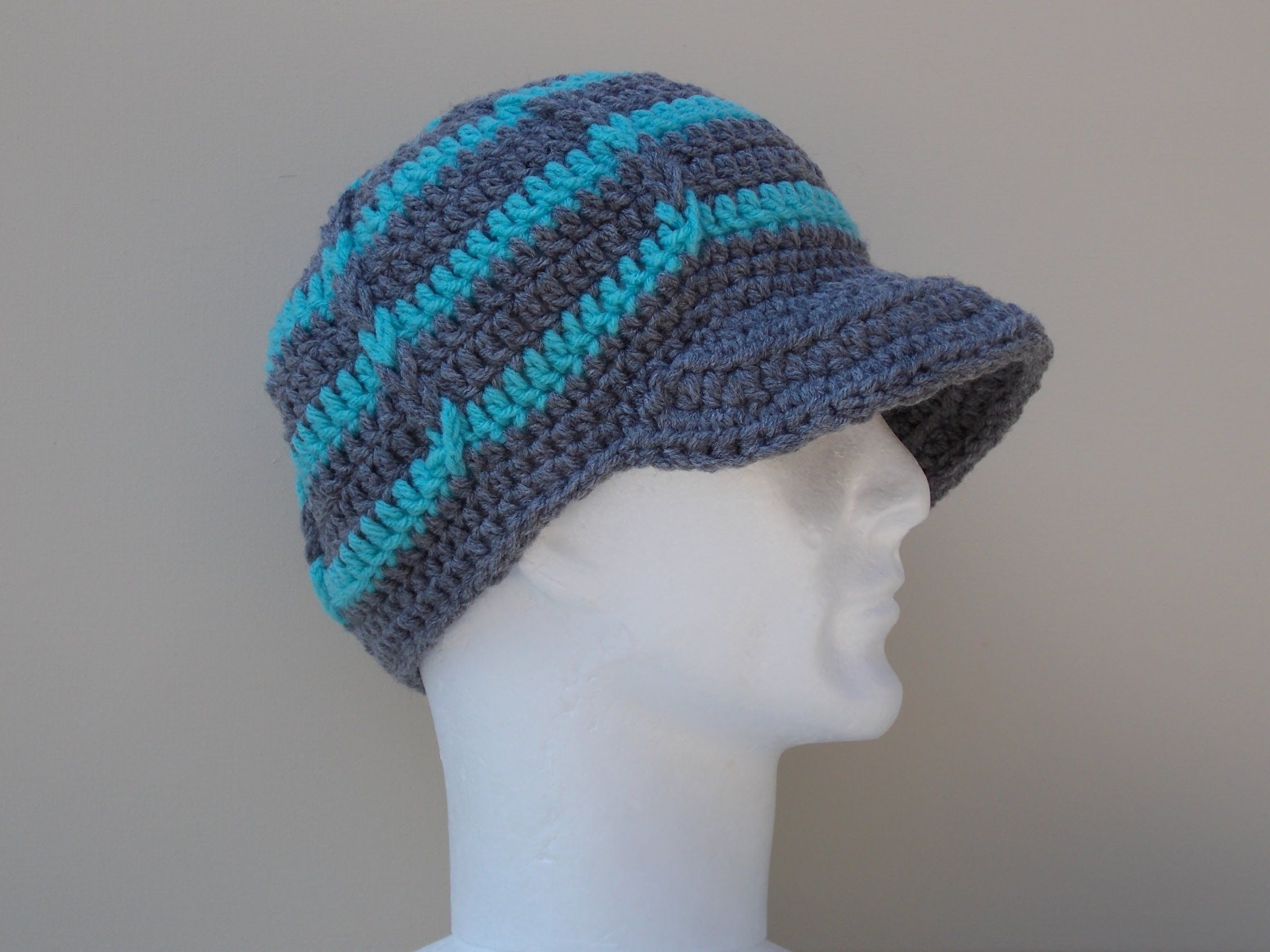 Hat Brim / Peak Crochet Tutorial. How to add a brim to a crochet hat ...