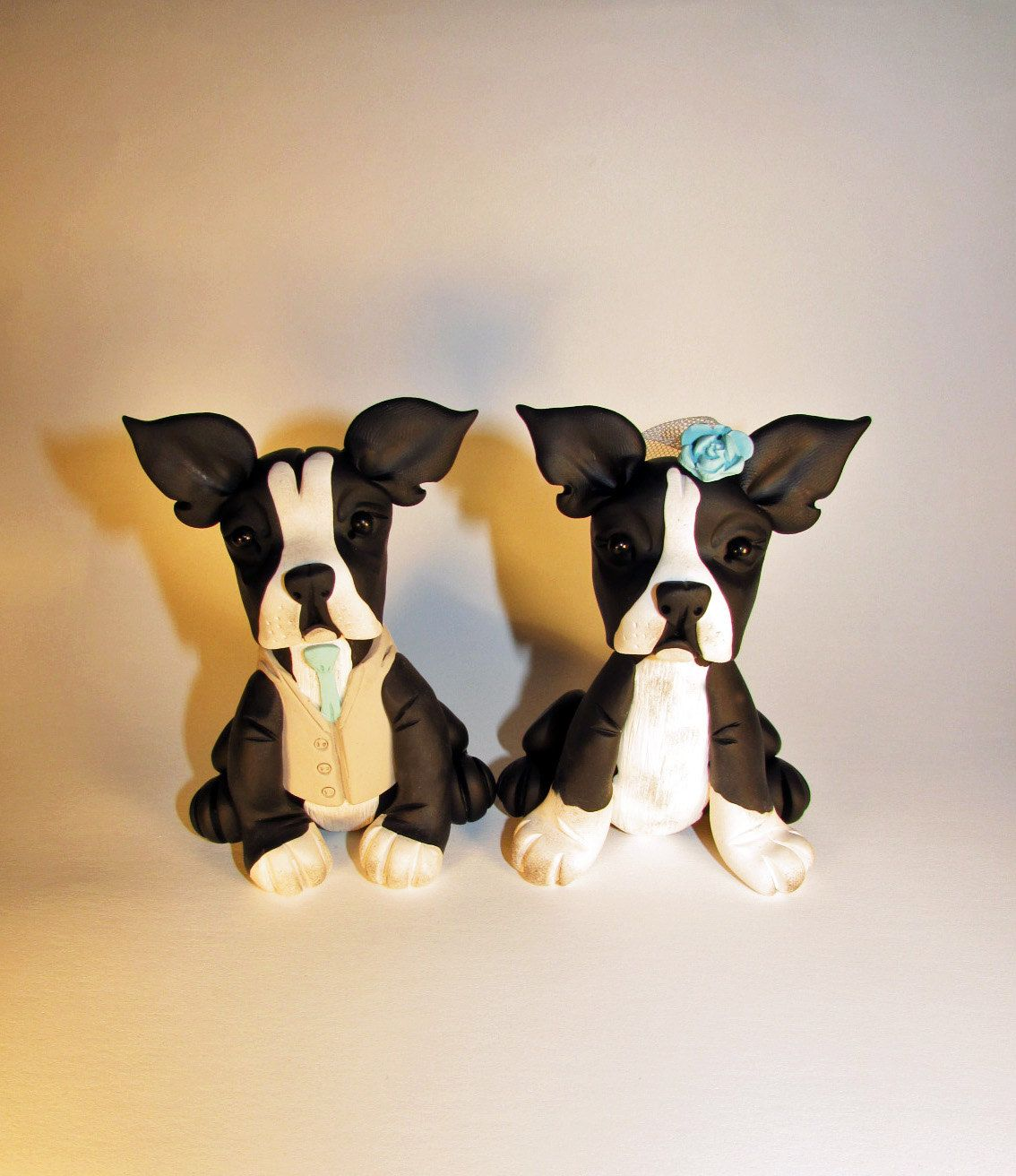 Custom cake topper dog pet boston terrier french by fancypantsclay
