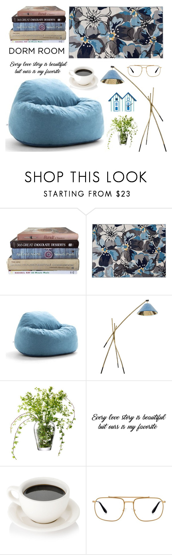 """blue room"" by tijana-tanasic-ex-lecic ❤ liked on Polyvore featuring interior, interiors, interior design, home, home decor, interior decorating, World Rug Gallery, Big Joe, LSA International and Prada"