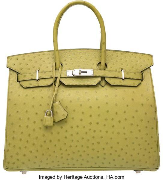ea37ed4185 Hermes 35cm Vert Anis Ostrich Birkin Bag with Palladium Hardware.I Square