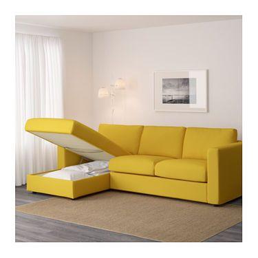 Bettsofa ikea  VIMLE 3-seat sofa With chaise longue/gräsbo golden-yellow | Golden ...