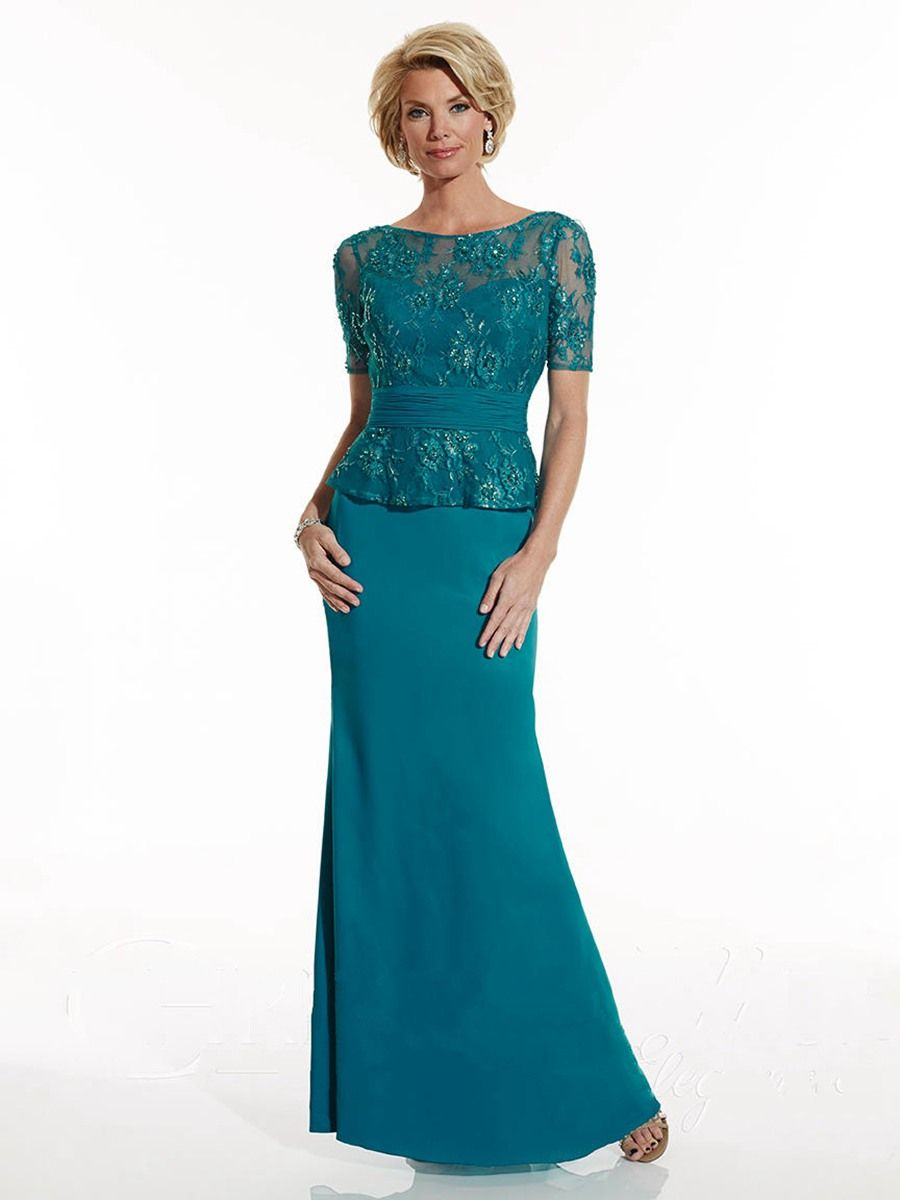 Bateau Neckline Short Sleeves Lace and Chiffon Mother of The Bride ...