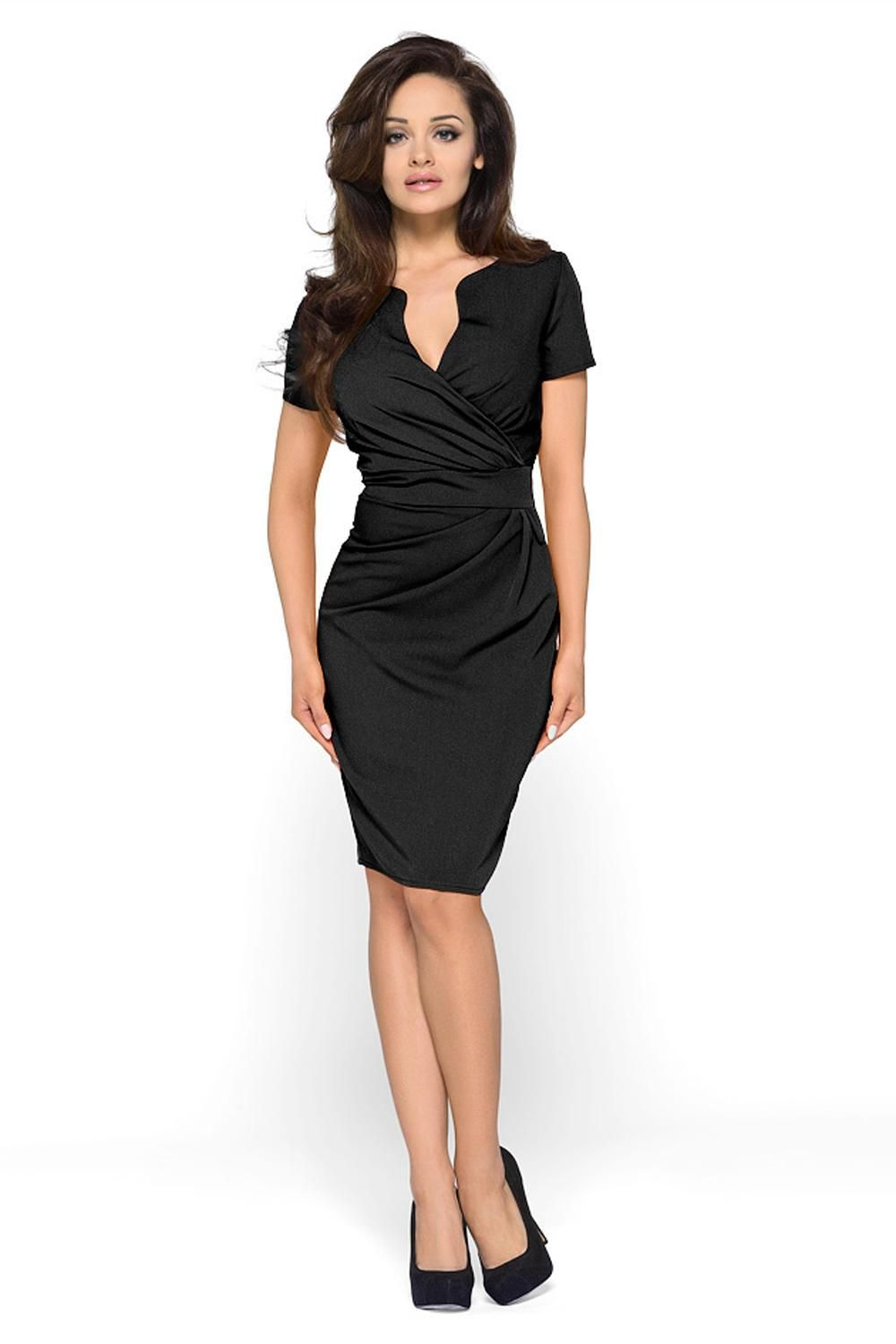 6043cf0a2a15 Wrap Around Self Belted Sheath Black Dress | Products | Dresses ...